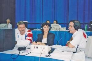 Comentand la Campionatele Mondiale de gimnastica, impreuna cu Nadia Comaneci si Bela Karoly